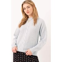 Cashmere Cable andamp; Rib Jumper Pearl