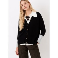 Cashmere Contrast Cuff Cardigan Black and pearl