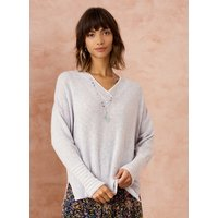 Cashmere Gauzy V Neck Jumper Pearl and White