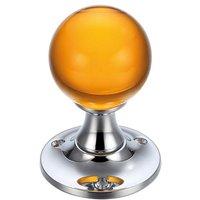 Amber Glass Ball Door Knobs on Plain Polished Chrome Roses