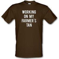 Working On My Farmer's Tan male t-shirt.