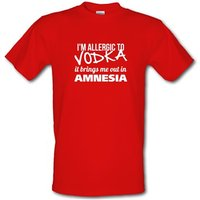 I'm Allergic to Vodka it brings me out in Amnesia male t-shirt.