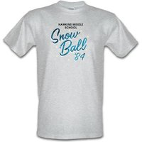 Hawkins Middle School Snow Ball '84 male t-shirt.