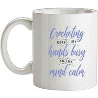 Crocheting Keeps My Hands Busy mug.