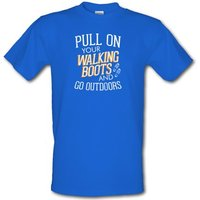 Pull On Your Walking Boots And Go Outdoors male t-shirt.