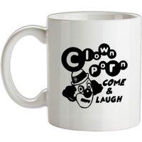 Clown Porn Come & Laugh mug.