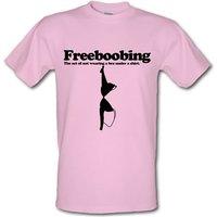 Freeboobing The Act Of Not Wearing A Bra Under A Shirt male t-shirt.