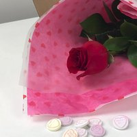Single Red Rose Letterbox Flower with Sweets