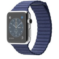 Apple WATCH 1. Generation 42mm silbernes Edelstahlgehäuse blaues Lederloop