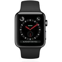 Apple WATCH Series 3 GPS + Cellular 38mm spaceschwarzes Edelstahlgehäuse schwarzes Sportarmband