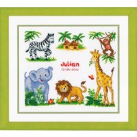 Counted Cross Stich Kit: Birth Record: Zoo Animals