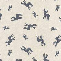 110cm wide Cotton Print Ecru Grey Reindeer Fabric