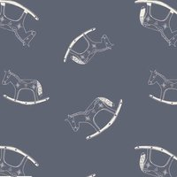 110cm wide Cotton Print Grey Rocking Horse Fabric