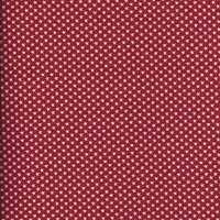 110cm wide Linen Look White Stars on Red Fabric
