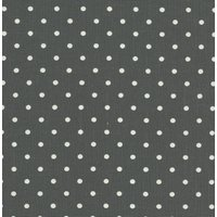 110cm wide Linen Look Cotton White Spot on Charcoal Grey Fabric