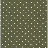 110cm wide Linen Look Cotton White Spot on Dark Olive Fabric