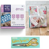 Build-a-Block Patchwork System PLUS with Fabric Scissors and Sew Lovely Fat Quarter Bundle