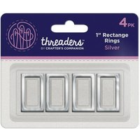 "1"" Rectangle Rings - Silver (4PK)"