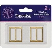 "1"" Double Rectangle Slider - Brass (2pk)"