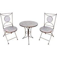 *NEU*: Balkonset aus Metall und Keramik, blau/weiß, 3-teilig