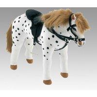 Happy People Spielzeug Pferd Apfelschimmel in weiß/schwarz, Sattel und Zaumzeug, Sattelhöhe ca. 50 cm + 2. Sattel in braun mit Steigbüge