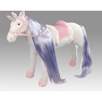 Spielzeug Pferd Einhorn in weiß, mit Sound, Kopfhöhe ca. 65 cm inkl. Putzbox befüllt für Kinder, lila und extra Sattel, braun