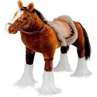 Spielzeug Pferd in braun, mit Sound, Sattelhöhe ca. 51 cm inkl. Putzbox befüllt für Kinder, lila