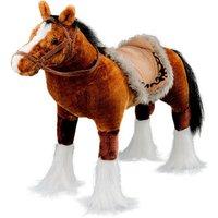 Spielzeug Pferd in braun, mit Sound, Sattelhöhe ca. 51 cm inkl. Putzbox befüllt für Kinder, lila und extra Sattel, braun
