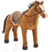 Spielzeug Pferd in rotbraun, mit Sound, Sattelhöhe ca. 55 cm inkl. Putzbox befüllt für Kinder, rosa