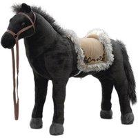 Spielzeug Pferd Indianerpferd in schwarz, mit Sound, Sattelhöhe ca. 52 cm inkl. Putzbox befüllt für Kinder, lila und extra Sattel, braun