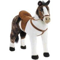 Happy People Spielzeug Pferd Pinto in weiß/braun, mit Sound, Sattelhöhe ca. 48 cm + 2. Sattel in braun mit Steigbügel & Zaumzeug