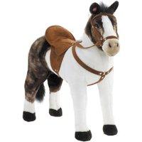 Spielzeug Pferd Pinto in weiß/braun, mit Sound, Sattelhöhe ca. 48 cm inkl. Putzbox befüllt für Kinder, rosa