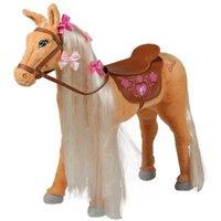 """Mattel Barbie-Pferd """"Tawny"""", mit Sound, beige mit heller Mähne inkl. Putzbox befüllt für Kinder, lila und extra 2 in 1 Pferdedecke"""