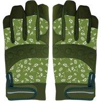 2 Stück Rivanto® Garten Handschuhe gemustert Größe L, Bodenhandschuhe für Garten und Beet, Arbeitshandschuhe mit Klettverschluss, atmungsaktiv