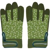2 Stück Rivanto® Gartenarbeitshandschuhe gemustert Größe M, Bodenhandschuhe für Garten und Beet, Arbeitshandschuhe mit Klettverschluss, atmungsaktiv