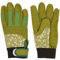 2 Stück Rivanto® Gartenarbeitshandschuhe gemustert S, Bodenhandschuhe für Garten und Beet, Arbeitshandschuhe mit Klettverschluss, atmungsaktiv