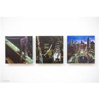 Tinas Collection 3tlg Wanduhren Set, Uhr + zwei Bilder mit dem Motiv -New York-