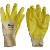 XCLOU GARDEN Nitril Universalhandschuh, Arbeitshandschuh, gelb, mit Strickbund, Größe 9