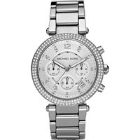 michael kors parker crystal pave chronograph silver ladies