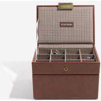 stackers tan cufflink and watch box | 73199