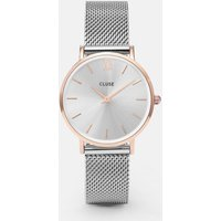 cluse minuit mesh rose gold and silver watch | cl30025