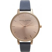 olivia burton big dial navy and rose gold watch | ob13bd13b