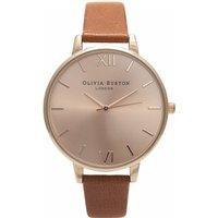 olivia burton big dial tan and rose gold watch | ob15bd70