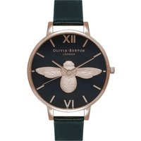 olivia burton animal motif bee black and rose gold watch | ob16am98