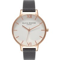 olivia burton big dial white dial black and rose gold watch | ob16bdw09