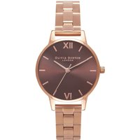 olivia burton brown dial midi rose gold bracelet watch | ob16bl36