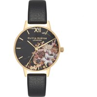 olivia burton marble floral black and gold watch | ob16cs11