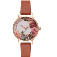 olivia burton english garden tan and rose gold watch | ob16er05