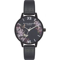 olivia burton after dark floral matte black, black and silver watch | ob16ad22