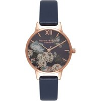 olivia burton signature floral navy and rose gold watch | ob16wg13
